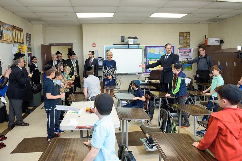 Secretary DeVos visiting Rabbi Deutsch's third grade classroom at Yeshiva Darchei Torah
