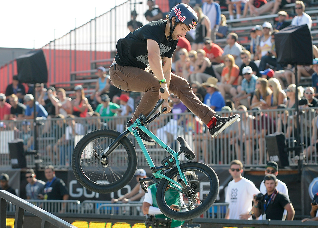 . Garrett Reynolds on his way to a silver medal during the BMX Street finals at L.A. Live in Los Angeles, CA. 8/3/2013(John McCoy/LA Daily News)
