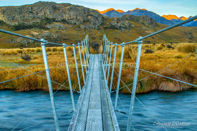 Suspension bridge with a view. Edoras, the capital of Rohan .
