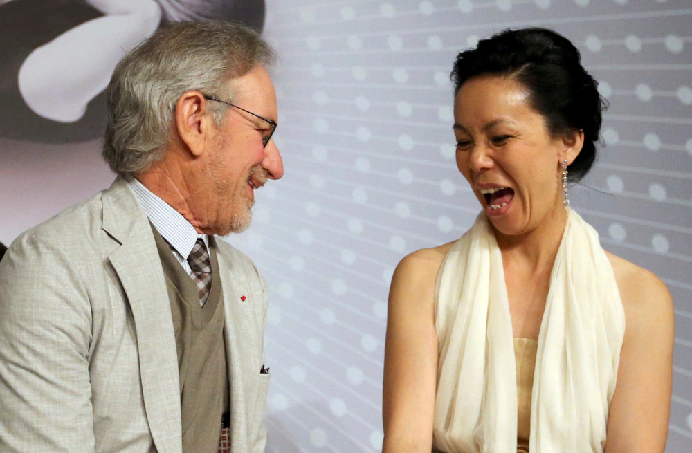 . Director Steven Spielberg (L), Jury President of the 66th Cannes Film Festival, and jury member director Naomi Kawase leave after a news conference before the opening of the 66th Cannes Film Festival in Cannes May 15, 2013. The 66th Cannes Film Festival runs from May 15 to May 26.  REUTERS/Regis Duvignau