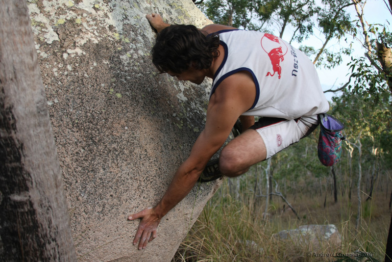 Trent bouldering at Mt Stuart. Photo by Andrew Grosser