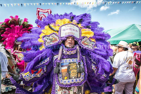 Uptown Warriors, Wild Red Flames, and Young Brave Hunters Mardi Gras Indians parade (Sat 5/6/17)