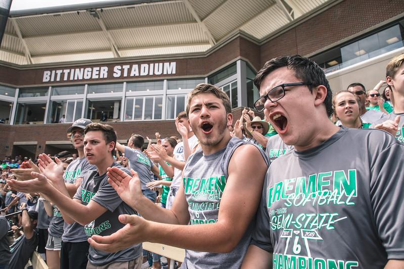 Bremen fans celebrate during the Bremen vs. Tecumseh state championship game on Saturday, June 8, 2019 at Bittinger Stadium.