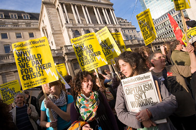 Socialist Workers Party demonstrating in the City of London against government bailing out banks, Oct 2008, London, United Kingdom
