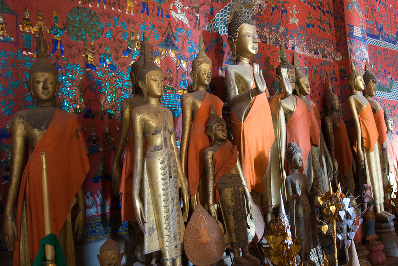 Close-up of Buddha statues on Luang Prabang, Laos