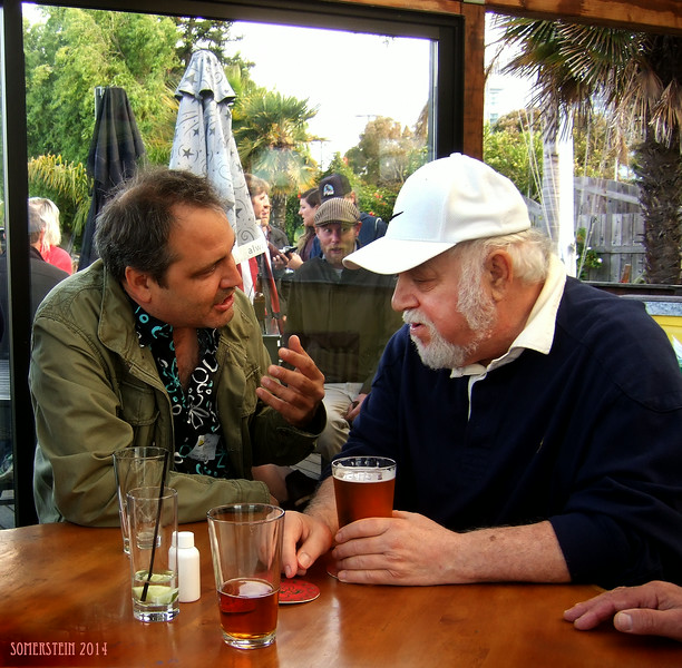 Jack Boulware (Litquake) conversing with Robert Altman (photographer)  - Mark Rennie and his friend Michelle's birthday party at Bayview Boat Club