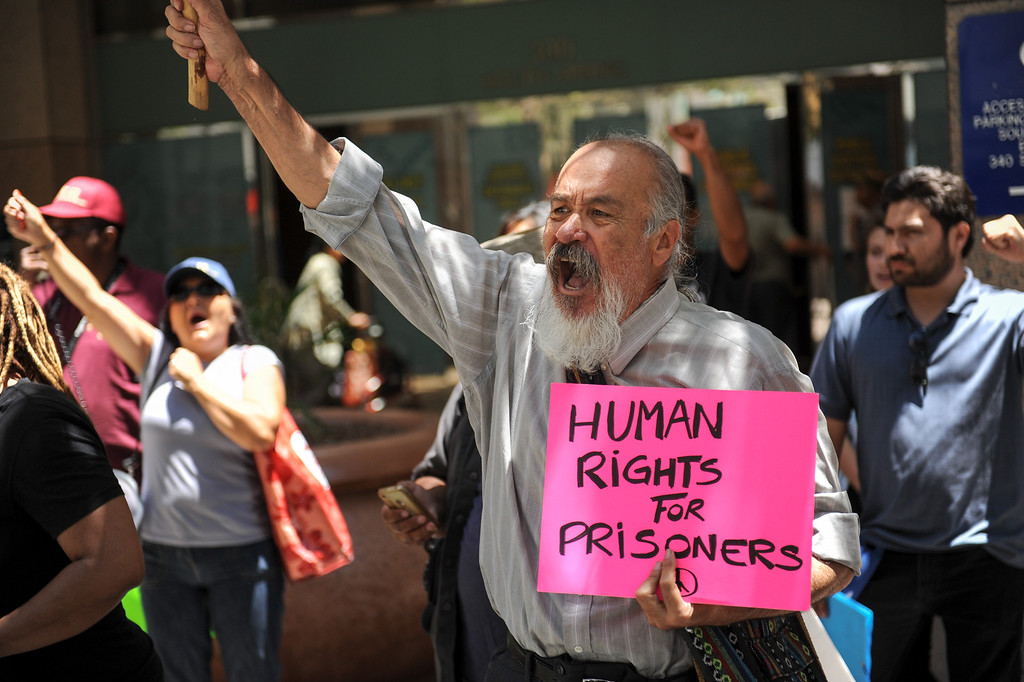 . Guillermo Cuauhtemoc protests outside the Ronald Reagan State Building in downtown L.A. Monday, July 8, 2013, against solitary confinement in California prisons. (Michael Owen Baker/L.A. Daily News)