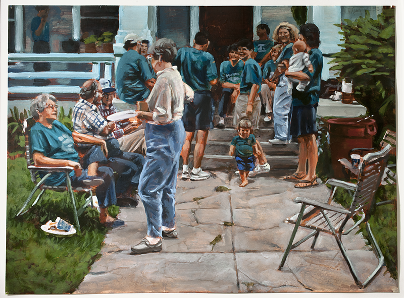 Block party; acrylic on paper, 22 x 30 in, 1993