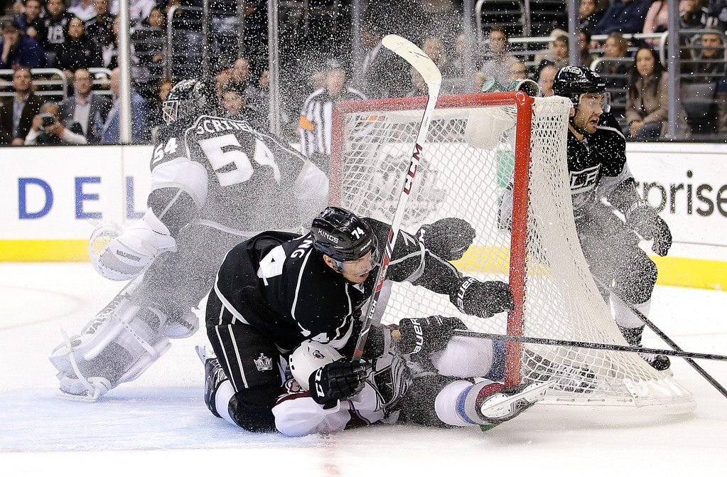 . Los Angeles Kings\' Dwight King, top, collides with Colorado Avalanche\'s Gabriel Landeskog, of Sweden, during the third period of an NHL hockey game on Saturday, Nov. 23, 2013, in Los Angeles. The Avalanche won 1-0 in overtime. (AP Photo/Jae C. Hong)