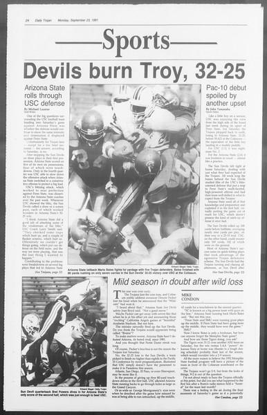 Daily Trojan, Vol. 116, No. 15, September 23, 1991