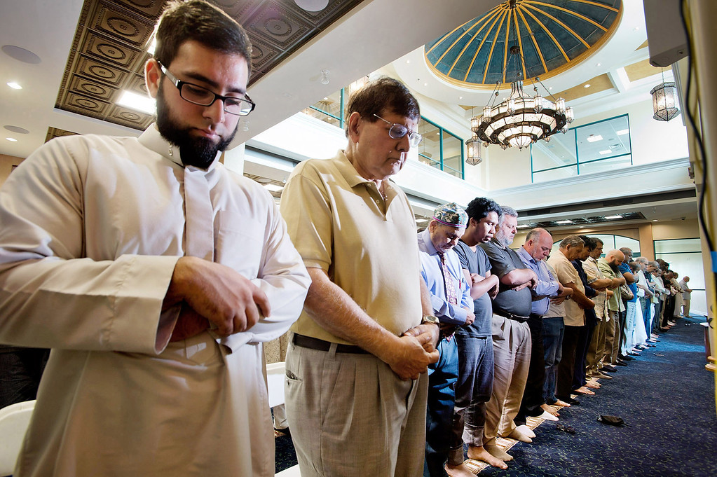 ". Muslims pray during the the ""Jumah\"" (Friday Congregational Prayer) at new Islamic Center of San Gabriel Valley in Rowland Heights on Friday, July 5, 2013. (SGVN/Staff photo by Watchara Phomicinda)"