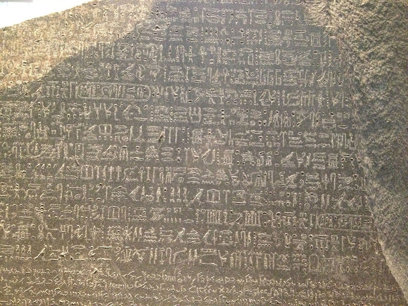 Egyptian hieroglyphics.  The meaning of the ancient writing was a mystery for thousands of years. The Rosetta Stone was the key - the statement was also in Greek