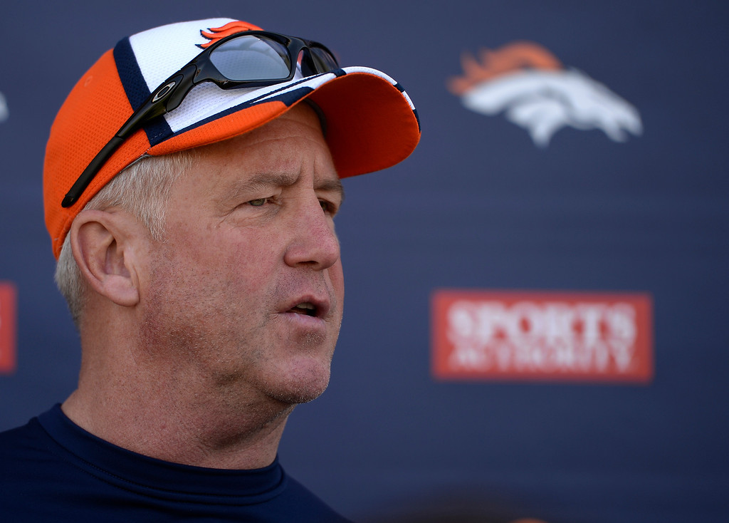 . Denver Broncos head coach John Fox talks with the media after OTA practice  June 2, 2014 at Dove Valley. (Photo by John Leyba/The Denver Post)