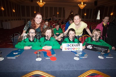 Crash Services in conjunction with the Road Safety Council of Northern Ireland hosted a Primary schools quiz in the Canal Court. Pictured are pupils from Dromintee PS with Rita Bentley and patricia O'Neill. R1610005