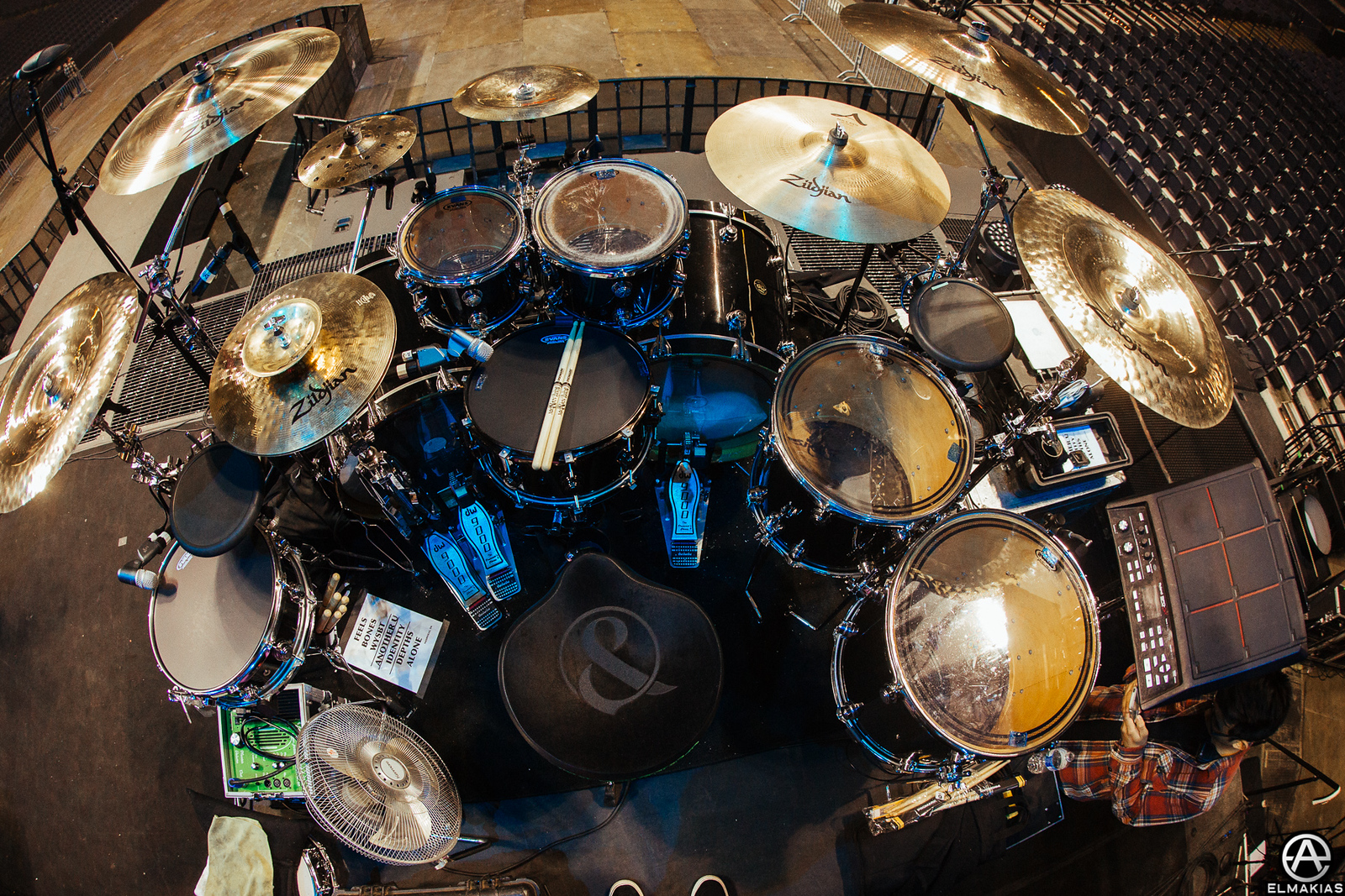 Tino's drum set up for the Hunting Party Tour