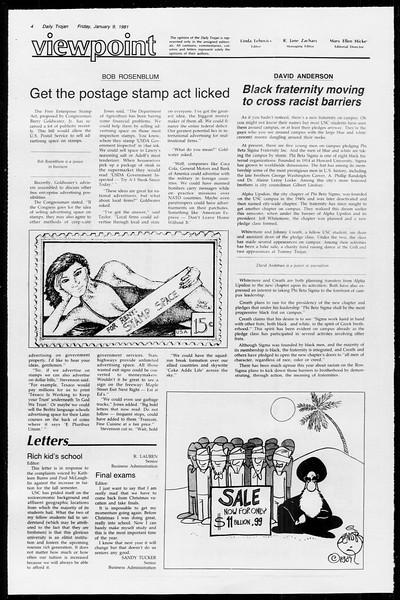 Daily Trojan, Vol. 89, No. 64, January 09, 1981
