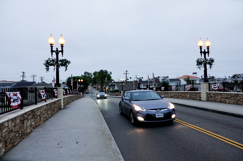 Leaving the island of Balboa, driving over the bridge toward the freeway.