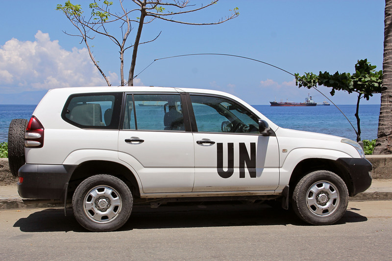 the ubiquitous UN SUV, the most popular car in dili