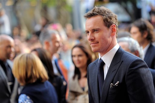 ". Michael Fassbender arrives at the premiere for ""12 Years a Slave\"" on day 2 of the Toronto International Film Festival at The Princess of Wales Theatre on Friday, Sept. 6, 2013, in Toronto. (Photo by Chris Pizzelloi/Invision/AP)"