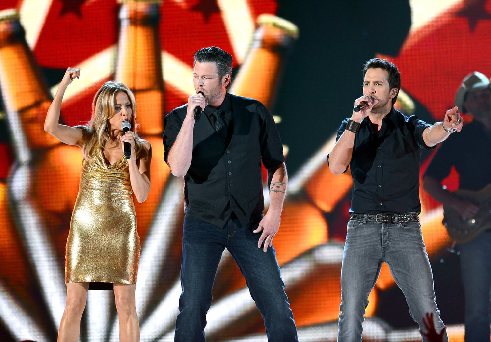 . Singers Sheryl Crow, Blake Shelton, and Luke Bryan perform onstage during the 48th Annual Academy of Country Music Awards at the MGM Grand Garden Arena on April 7, 2013 in Las Vegas, Nevada.  (Photo by Ethan Miller/Getty Images)