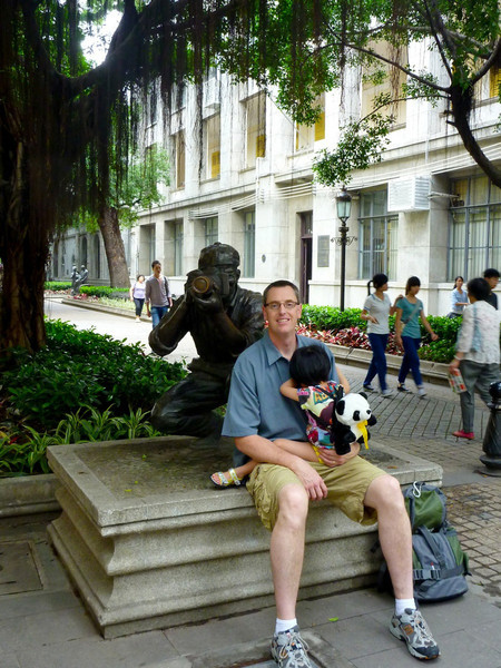 Shamian Island in Guangzhou is known for adoptive families and photographers.  This is a bronze statue in honor of all the photographers.