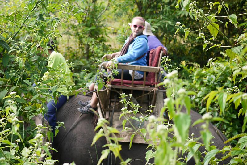 Ana hamming it up on her elephant trek in Laos.