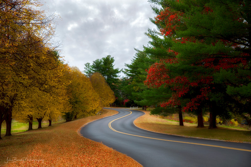 Winding Road on a Rainy Autumn New Hampshire Day - John Brody Photography
