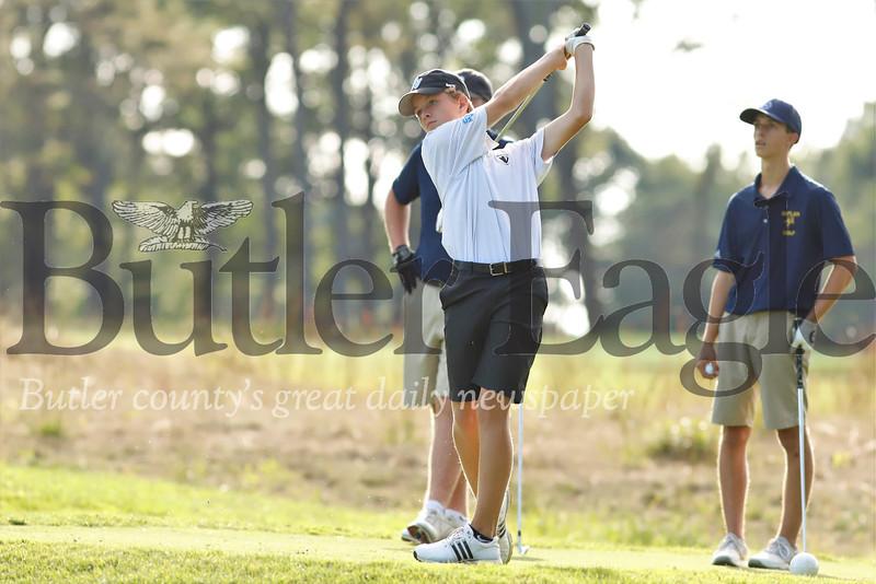 Nolan Nicklas tees off on hole 4. Seb Foltz/Butler Eagle