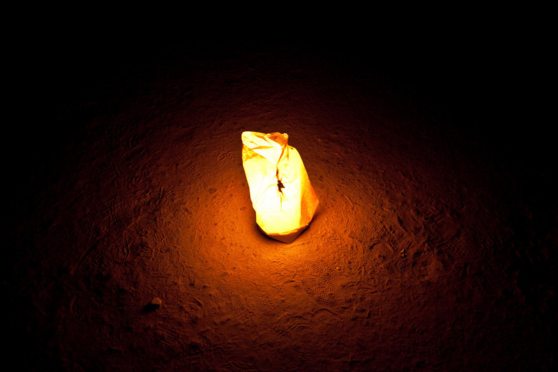 One of thousands of candle lit bags on the 1.2km walk to the entrance of Petra at night  Petra, Jordan