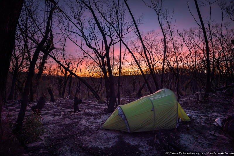 Ridgetop campsite at dusk