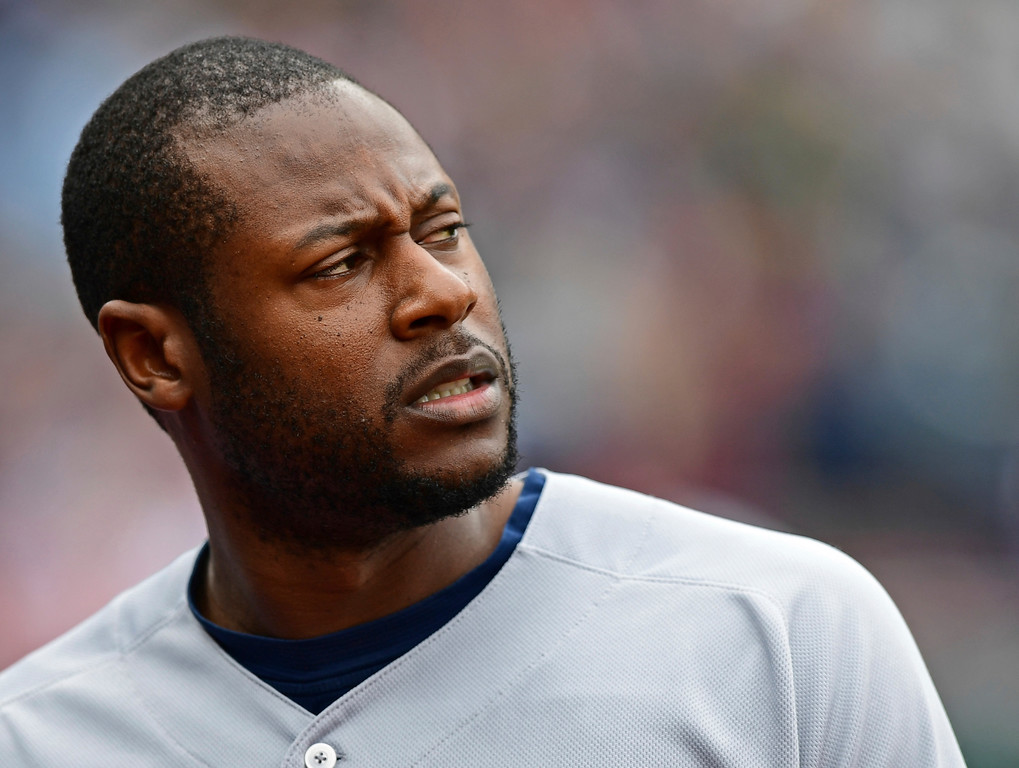 . Milwaukee Brewers\' Lorenzo Cain reacts after flying out to right field in the second inning of a baseball game against the Cleveland Indians, Wednesday, June 6, 2018, in Cleveland. (AP Photo/David Dermer)