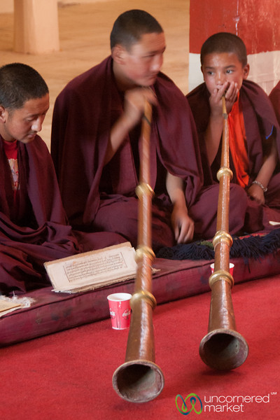 Novice Buddhist Monks Play Tibetan Long Horns (dungchen) - Hemis Monastery, Ladakh