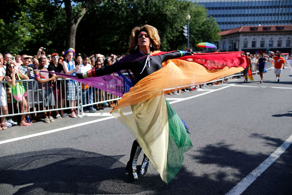. A dancer takes part in the gay-pride themed Capital Pride Parade in Washington, June 8, 2013. REUTERS/Jonathan Ernst