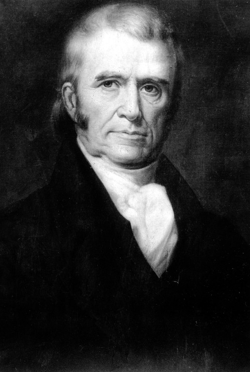 . This is an undated photo of a painting of Second Justice of the U.S. Supreme Court John Marshall.  (AP Photo)