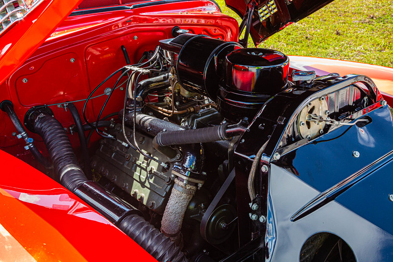 The engine block of a 1941 Cadillac Convertible Sedan owned by Melvyn Lipsschitz of Palm Beach Gardens at the Super Chevy Show at Palm Beach International Raceway in Jupiter on Saturday, May 25, 2019.  [JOSEPH FORZANO/palmbeachpost.com]