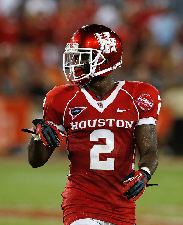 . D.J. Hayden #2 of the Houston Cougars during their game against the Texas State Bobcats at Robertson Stadium on September 1, 2012 in Houston, Texas. Hayden was selected 12th by the Oakland Raiders in the 2013 NFL Draft.  (Photo by Scott Halleran/Getty Images)