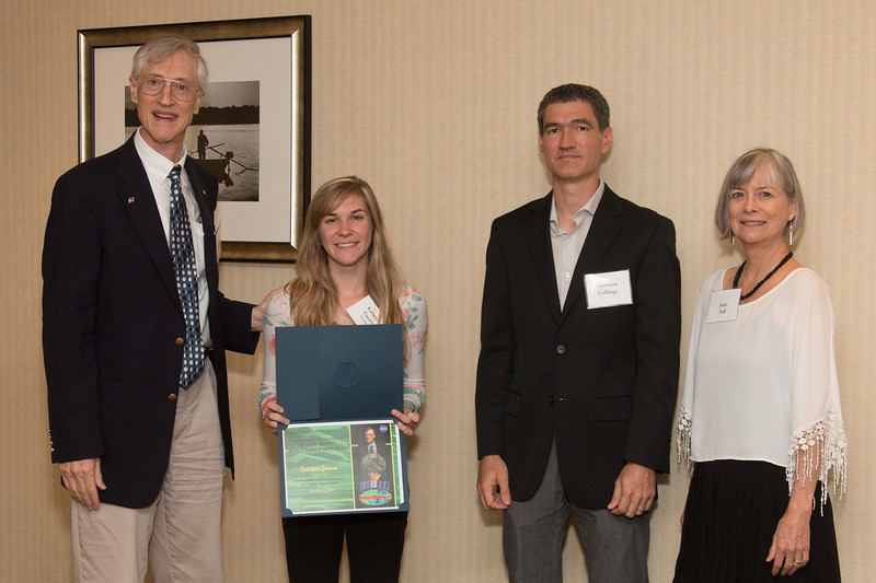 """Awardee Katerina Yocum with John Mather, Matthew Collinge (Maryland Space Grant Consortium), and Janie Nall (GSFC) -- An award luncheon, """"Dr. John Mather Nobel Scholars Program Award"""", as part of the National Council of Space Grant Directors and the Maryland Space Grant Consortium, Greenbelt, MD July 28, 2017"""