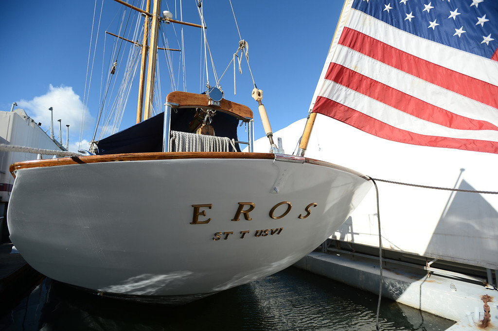 . The Eros, a restored 1939 English schooner owned by Bill and Grace Bodle, is photographed in Richmond, Calif. on Thursday, Jan. 10, 2013. The Bodles have worked with the Sentinels of Freedom to provide sailing expeditions to wounded veterans. (Kristopher Skinner/Staff)
