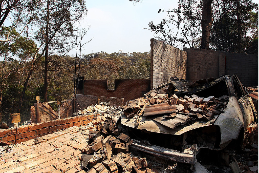 . A home destroyed by bush fire as seen on October 18, 2013 in Winmalee, Australia.   (Photo by Lisa Maree Williams/Getty Images)