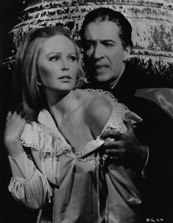. circa 1968:  Christopher Lee and Veronica Carlson in \'Dracula Has Risen From The Grave\', a Hammer film directed by Freddie Francis.  (Photo by Keystone/Getty Images)
