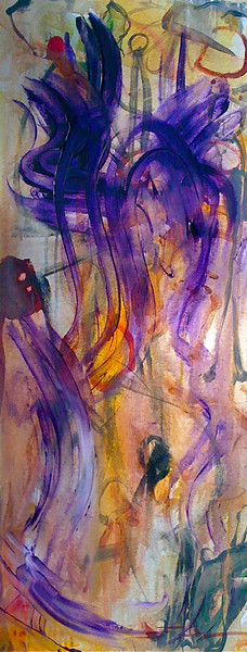 """2010, 16"""" x 40"""". Out to Sea, Acrylic on canvas. (Owned by Harry Sandler)."""