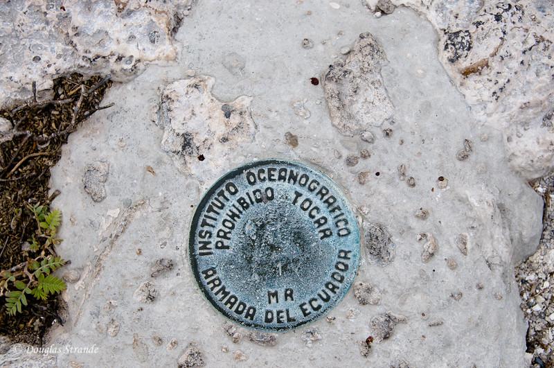 National Park marker at South Plaza Island landing