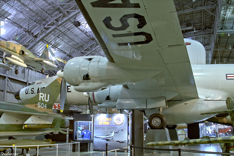 """National Museum of the United States Air Force, Dayton, Ohio,   04/13/2019  Lockheed EC-121D Warning Star C/N 1049A-4370  53-0555  Nicknamed """"Triple Nickel"""" because of its serial number (53-555). Also the tail of Republic F-105D Thunderchief C/N D192   60-0504   This work is licensed under a Creative Commons Attribution- NonCommercial 4.0 International License."""