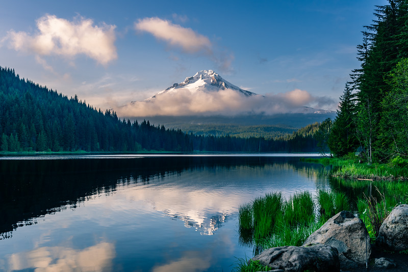 Mt Hood reflected in Trillium Lake, Spring 2019.