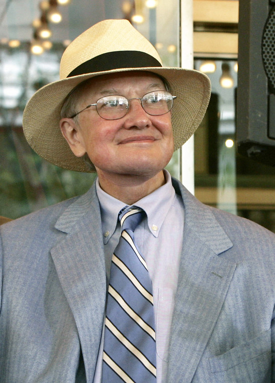 . Film critic Roger Ebert is seen in this July 18, 2005 file photo in Chicago.  (AP Photo/Charles Rex Arbogast)