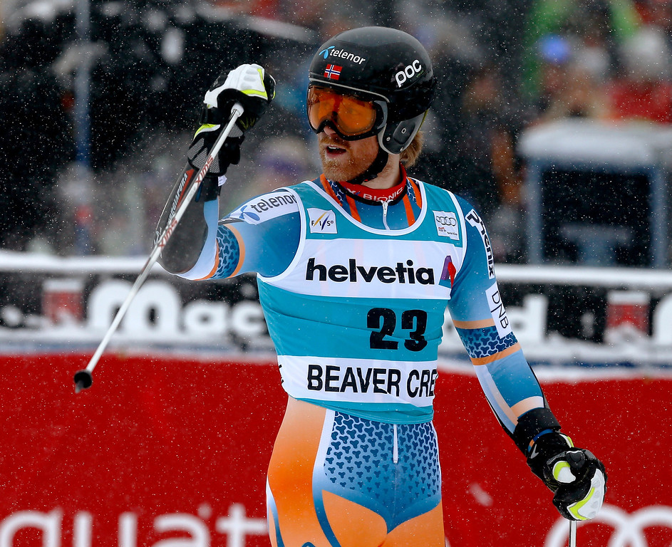 . Norway\'s Leif Kristian Haugen reacts after finishing his first run during the men\'s World Cup giant slalom skiing event, Sunday, Dec. 8, 2013, in Beaver Creek, Colo. (AP Photo/Julie Jacobson)