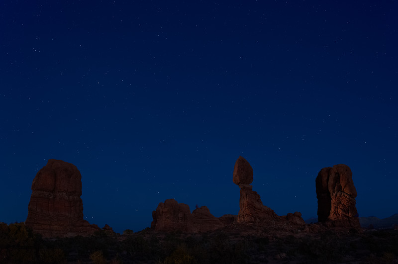 Balanced Rock, Arches National Park stars at Night