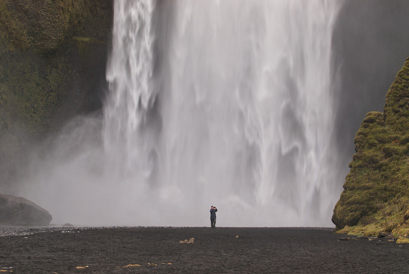 The mighty Skogafoss waterfall in south Iceland. Get close and a good drenching beholds. Thats exactly what I did with the E5. We both got soaked. Great shot this to get a sense of scale...this was me using the movie mode and narrating at same time.