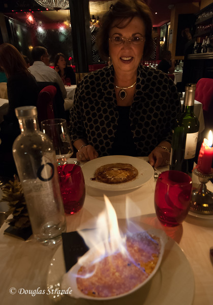 Flaming Creme Brulee at Le Grand Bistro de Breteuil