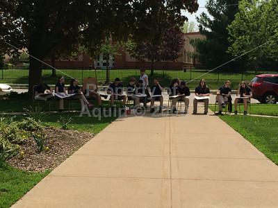 8th grade art class--outside! . 5.20.14